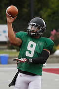 Lindenwood QB Darrien Boone releases the ball during practice.