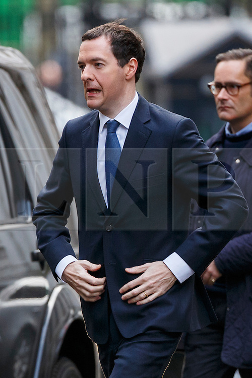 © Licensed to London News Pictures. 20/02/2016. London, UK. Chancellor GEORGE OSBORNE attending a cabinet meeting in Downing Street on Saturday, 20 February 2016 after a deal has been made on the UK's EU membership in Brussels. Photo credit: Tolga Akmen/LNP