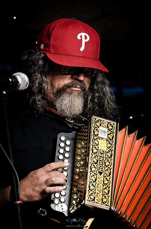 Tim Brough of Bloody Catholics on accordian during a performance at The Bus Stop Music Cafe in Pitman, NJ.