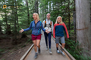 Family hike in Avalanche Gorge in Glacier National Park, Montana, USA MR
