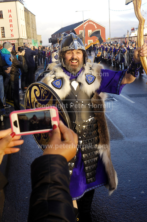 Tuesday 29th January 2013: A member of the Jarl Squad 2013 marches towards the town centre during Up Helly Aa 2013 in Lerwick, Shetland. Copyright 2013 Peter Horrell