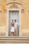 Christophe Blanc and his wife Chateau de Montpezat. Pezenas region. Languedoc. Owner winemaker. France. Europe.