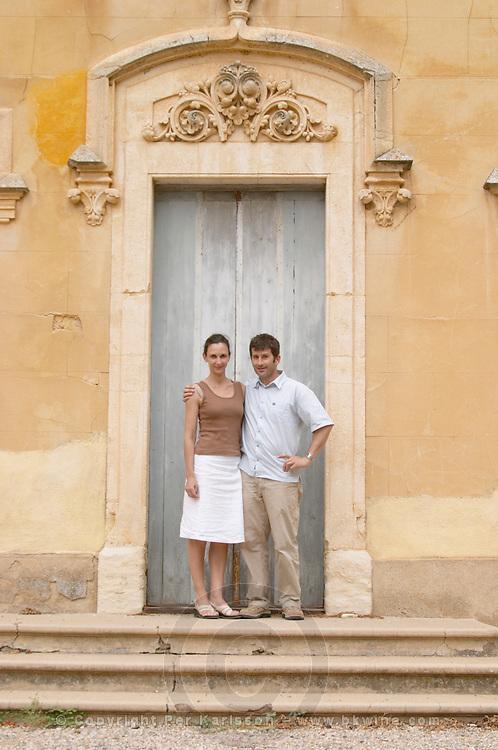 Christophe Blanc and his wife Chateau de Montpezat. Pezenas region. Languedoc. Owner winemaker. France. Europe.