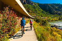 Bicycling on the Glenwood Canyon Bicycle Path, Glenwood Springs, Colorado USA