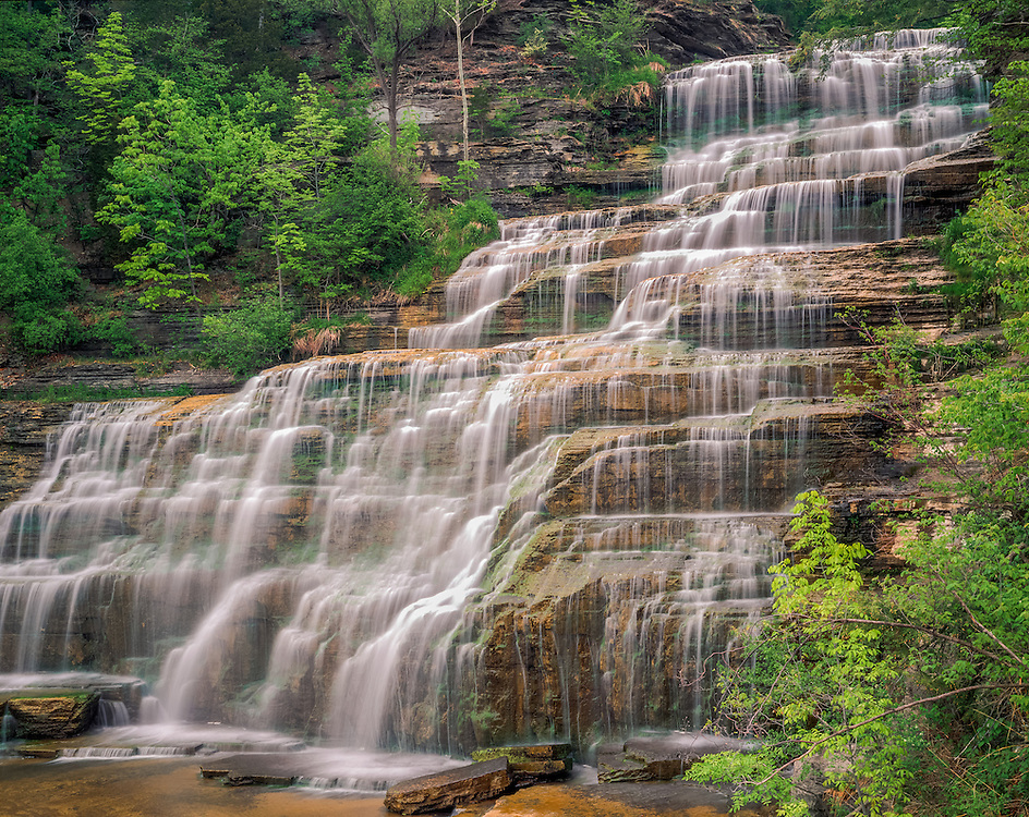 Waterfalls, Hector Falls cascades over shale ledge, Finger Lakes, Hector, NY