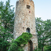The remaining tower of Zaehringen castle on a hill (Rosskopf) near the city of Freiburg, Germany.