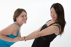 Two teenage girl having fun,