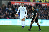 Gylfi Sigurdsson of Swansea city shuts his eyes in frustration as he reacts to missing scoring with a free-kick. Premier league match, Swansea city v West Ham United at the Liberty Stadium in Swansea, South Wales on Boxing Day, Monday 26th December 2016.<br /> pic by  Andrew Orchard, Andrew Orchard sports photography.