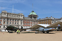 Douglas DC3 Dakota, Gloster Meteor F4, RAF100 Aircraft Tour London, Horse Guards, Whitehall, Westminster, London, UK, 01 July 2018, Photo by Richard Goldschmidt, To celebrate the Centenary of the Royal Air force The RAF100 Aircraft Tour is a public display of iconic RAF aircraft in city locations around the country.