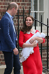 Duke and Duchess of Cambridge, Prince William and Catherine leaving St Marys Hospital after the birth of their 3rd child - London<br /><br />23 April 2018.<br /><br />Please byline: Vantagenews.com<br /><br />UK clients should be aware children's faces may need pixelating.