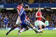 Branislav Ivanovic of Chelsea crosses the ball past Anthony Martial of Manchester United. Barclays Premier league match, Chelsea v Manchester Utd at Stamford Bridge in London on Sunday 7th February 2016.<br /> pic by John Patrick Fletcher, Andrew Orchard sports photography.