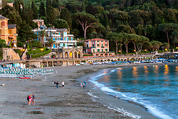 The beach at the enchanting village of Levanto Village. Levanto is adjacent to the famous coast and five villages of Cinque Terre.   A very good base for visiting Cinque Terre.