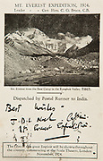 British Everest Expedition 1924 postcard, produced by expedition film-maker J.B.L Noel, hand carried to Darjeeling for posting, Tibet