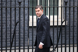 © Licensed to London News Pictures. 12/04/2018. London, UK. Justice Secretary David Gauke arriving in Downing Street to attend a 'War Cabinet' meeting this afternoon. Discussion is expected on Britain's involvement on military action in Syria, following a suspected chemical attack. Photo credit : Tom Nicholson/LNP