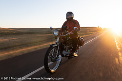 Byrne Bramwell of Ontario, Canada, rode his Henderson-4 on the Motorcycle Cannonball coast to coast vintage run. Stage 9 (294 miles) from Pierre to Sturgis, SD. Sunday September 16, 2018. Photography ©2018 Michael Lichter.