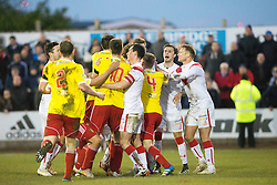 Both teams involved in a small melee. Albion Rover 1 v 2 Airdrie, Scottish League 1 game played 5/11/2016 at Cliftonhill.