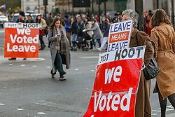 March 28, 2019 - GBR - Pro-Brexit campaigners lobby outside Parliament while MPs have rejected Theresa May's EU withdrawal agreement on Friday, March 29, 2019 - the day the UK was due to leave the EU...The government lost by 344 votes to 286, a majority of 58. (Credit Image: © Vedat Xhymshiti/ZUMA Wire)