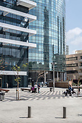 New modern highrise building on 1 Rothschild  boulevard with pedestrian plaza in front, Tel Aviv, Israel