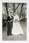 vintage formal portrait of just married couple Netherlands 1950s