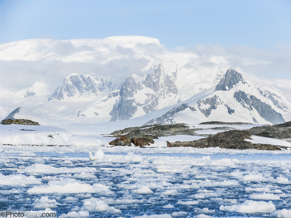 """Glacier capped mountains rise above sea ice on the Antarctic Peninsula. Published by W.W. Norton Publishers as a full page chapter opener in the textbook """"Discover Biology 5e"""" by Cain et al 2012, plus ebook, DVD, and web; and in """"Discover Biology 6e"""" by Singh-Cundy & Shin 2014."""
