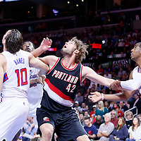 08 November 2014: Portland Trail Blazers center Robin Lopez (42) vies for the rebound with Los Angeles Clippers forward Spencer Hawes (10), Los Angeles Clippers center DeAndre Jordan (6) and Los Angeles Clippers guard Chris Paul (3) during the Los Angeles Clippers 106-102 victory over the Portland Trail Blazers, at the Staples Center, Los Angeles, California, USA.