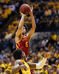 Feb 24, 2018; Morgantown, WV, USA; Iowa State Cyclones guard Lindell Wigginton (5) shoots during the first half against the West Virginia Mountaineers at WVU Coliseum. Mandatory Credit: Ben Queen-USA TODAY Sports