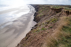 Boulder clay cliffs suffering erosion at Mappleton; East Yorkshire; England