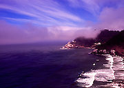 Image of Heceta Head Lighthouse on cliff at dusk overlooking the Pacific Ocean, near Florence, Oregon, Pacific Northwest by Andrea Wells