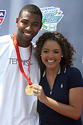 l to r: Cullen Jones and Suzie Castillo at The 2008 Arthur Ashe Kids' Day held at The USTA Bille Jean King National Tennis Center on August 23, 2008 in Flushing, NY