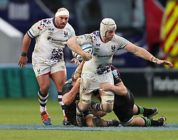 Dave Attwood of Bristol Bears is tackled in the midfield - Mandatory by-line: Matt Impey/JMP - 26/12/2020 - RUGBY - Twickenham Stoop - London, England - Harlequins v Bristol Bears - Gallagher Premiership Rugby