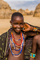 Young teenaged girls, Arbore tribe village, Omo Valley, Ethiopia.