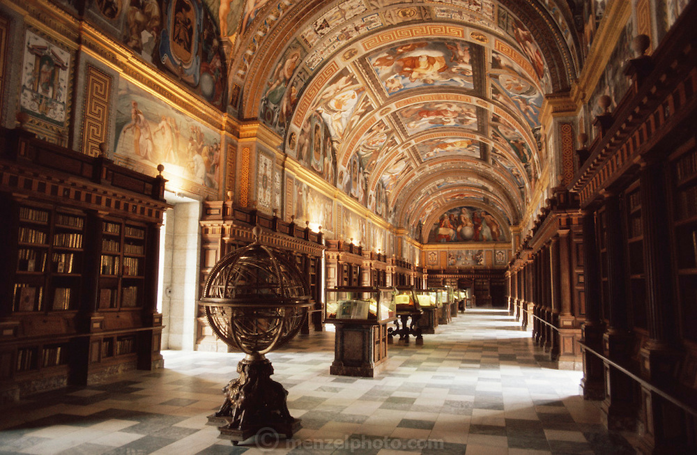 Interior of the library at El Escorial, Spain.