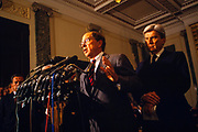 U.S. Senator Sam Nunn of Georgia - Senate Armed Services Committee - and Senator John Warner of Virginia - of the Senate Armed Services Committee announce the military's Don't Ask, Don't Tell policy at the US Capitol in Washington D.C.