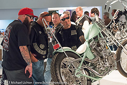 Prism Motorcycles custom Panhead on display in the Old Iron - Young Blood exhibition during the media and industry reception in the Motorcycles as Art gallery at the Buffalo Chip during the annual Sturgis Black Hills Motorcycle Rally. Sturgis, SD. USA. Sunday August 6, 2017. Photography ©2017 Michael Lichter.
