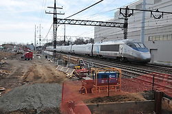 Northbound Amtrak Acela. Taken during Construction Progress Photography of the Railroad Station at Fairfield Metro Center - Site visit 9 of once per month Chronological Documentation.