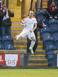 Raith Rovers Mark Stewart celebrates after scoring their second goal. <br /> Raith Rovers 2 v 1 Hibernian, Scottish Championship game player at Stark's Park, 18/3/2016.
