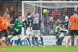 Dundee's Kane Hemmings (15) scoring their goal. <br /> Half time : Dundee 1 v 1  Dundee United, SPFL Ladbrokes Premiership game played 2/1/2016 at Dens Park.