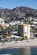 Vertical Aerial of Ventura Beach and Crowne Plaza Hotel