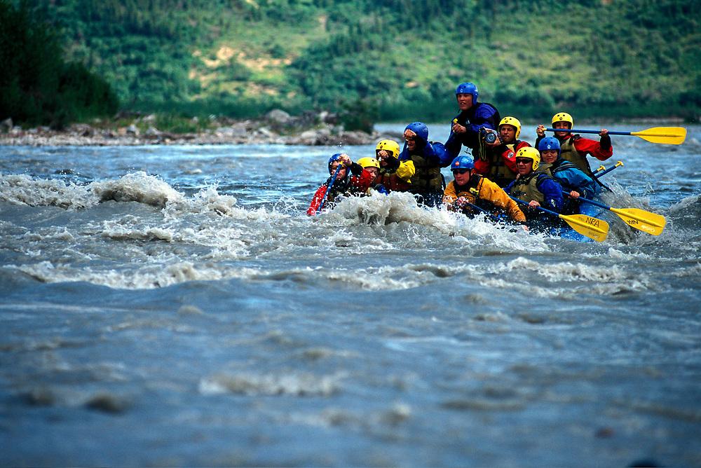 Denali, Alaska. White water rafting on Denali River, class3.