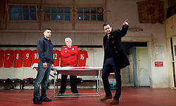 The Red Lion <br /> by Patrick Marber <br /> at the Dorfman Theatre, NT, Southbank, London, Great Britain <br /> press photocall <br /> 9th June 2015 <br /> <br /> <br /> Peter Wight as Yates<br /> Calvin Demba as Jordan <br /> Daniel Mays as Kidd<br /> <br /> <br /> <br /> Photograph by Elliott Franks <br /> Image licensed to Elliott Franks Photography Services