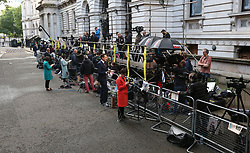 Media gather in Downing Street, London, as Theresa May's future as Prime Minister and leader of the Conservatives was being openly questioned after her decision to hold a snap election disastrously backfired.