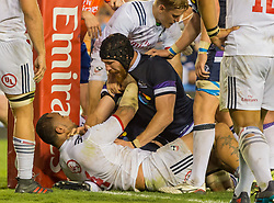 June 16, 2018 - Houston, Texas, US - USA Men's Rugby Team lock Samu Manoa (4) just inches away from the try during the Emirates Summer Series 2018 match between USA Men's Team vs Scotland Men's Team at BBVA Compass Stadium, Houston, Texas (Credit Image: © Maria Lysaker via ZUMA Wire)