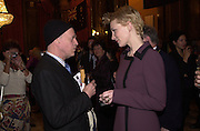 Australian actor, Trader Faulkner talking to Cate Blanchett. Gala Event: Better Than Sex. Reception after Cate Blanchett opened the 7 Australian Film Festival at Barbican Screen. Australian High Commission. © Copyright Photograph by Dafydd Jones 66 Stockwell Park Rd. London SW9 0DA Tel 020 7733 0108 www.dafjones.com