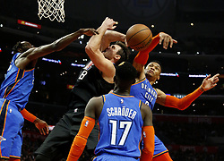 March 8, 2019 - Los Angeles, California, U.S - Los Angeles Clippers' Danilo Gallinari (8) goes to basket while defended by Oklahoma City Thunder's Russell Westbrook (0) during an NBA basketball game between Los Angeles Clippers and Oklahoma City Thunder Friday, March 8, 2019, in Los Angeles. (Credit Image: © Ringo Chiu/ZUMA Wire)