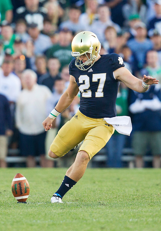 September 08, 2012:  Notre Dame kicker Kyle Brindza (27) during NCAA Football game action between the Notre Dame Fighting Irish and the Purdue Boilermakers at Notre Dame Stadium in South Bend, Indiana.  Notre Dame defeated Purdue 20-17.