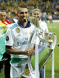 Dani Ceballos of Real Madrid with UEFA Champions League trophy, Coupe des clubs Champions Europeens during the UEFA Champions League final between Real Madrid and Liverpool on May 26, 2018 at NSC Olimpiyskiy Stadium in Kyiv, Ukraine