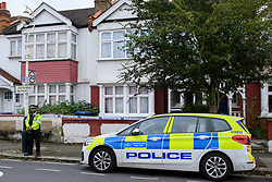 © Licensed to London News Pictures. 15/09/2021. London, UK. A police officer maintains a scene watch outside a property on Leyborne Avenue in Ealing following the death of a 5-year-old girl. A murder investigation has been launched by Metropolitan Police after they were called to the property at 12:56BST on Tuesday, 14 September following concerns for the welfare of the occupants. Police officers and the London Ambulance Service attended. Despite their efforts the girl was pronounced dead at the scene. Photo credit: Peter Manning/LNP