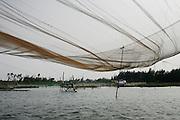 Hoi An, Vietnam. March 14th 2007..A fishing net on the river Thu Bon.