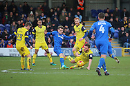 AFC Wimbledon midfielder Jake Reeves (8) clearing the ball during the EFL Sky Bet League 1 match between AFC Wimbledon and Oxford United at the Cherry Red Records Stadium, Kingston, England on 14 January 2017. Photo by Matthew Redman.