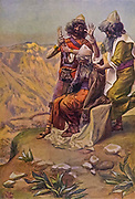"""MOSES ON THE MOUNTAIN DURING THE BATTLE. Ex. xvii. 12. """"And Aaron and Hur stayed up his hands, the one on the one side, and the other on the other side."""" From the book ' The Old Testament : three hundred and ninety-six compositions illustrating the Old Testament ' Part I by J. James Tissot Published by M. de Brunoff in Paris, London and New York in 1904"""